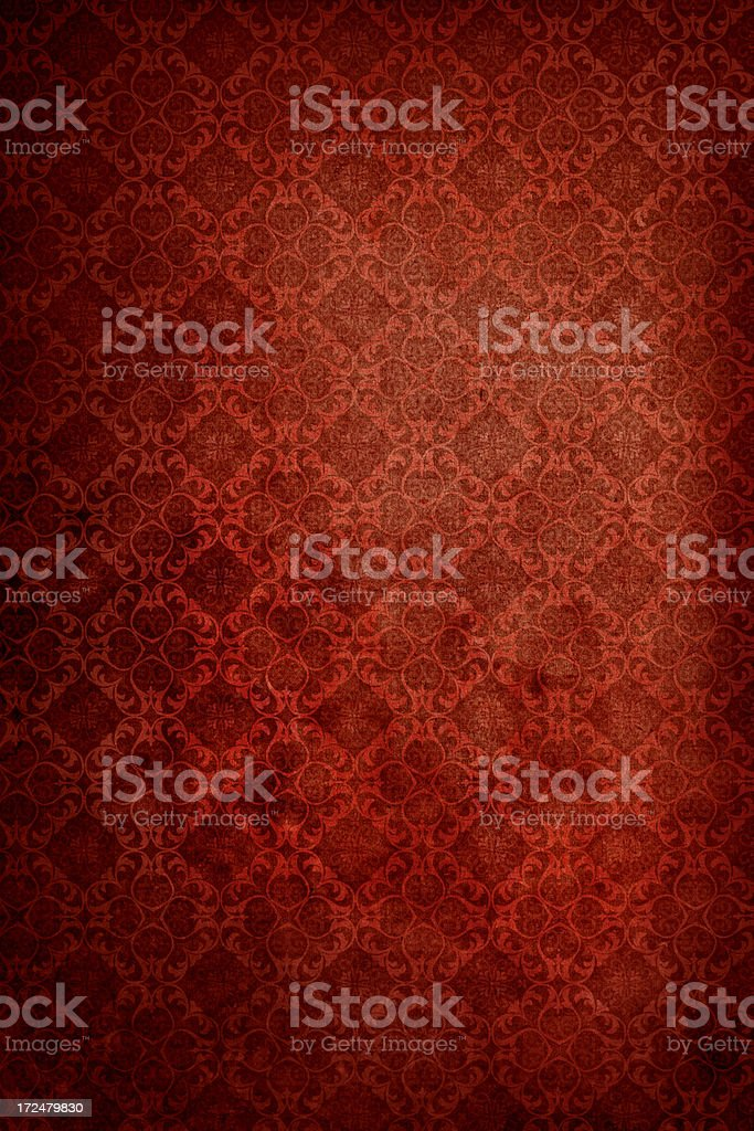 Red Antique Wallpaper – Victorian Style stock photo