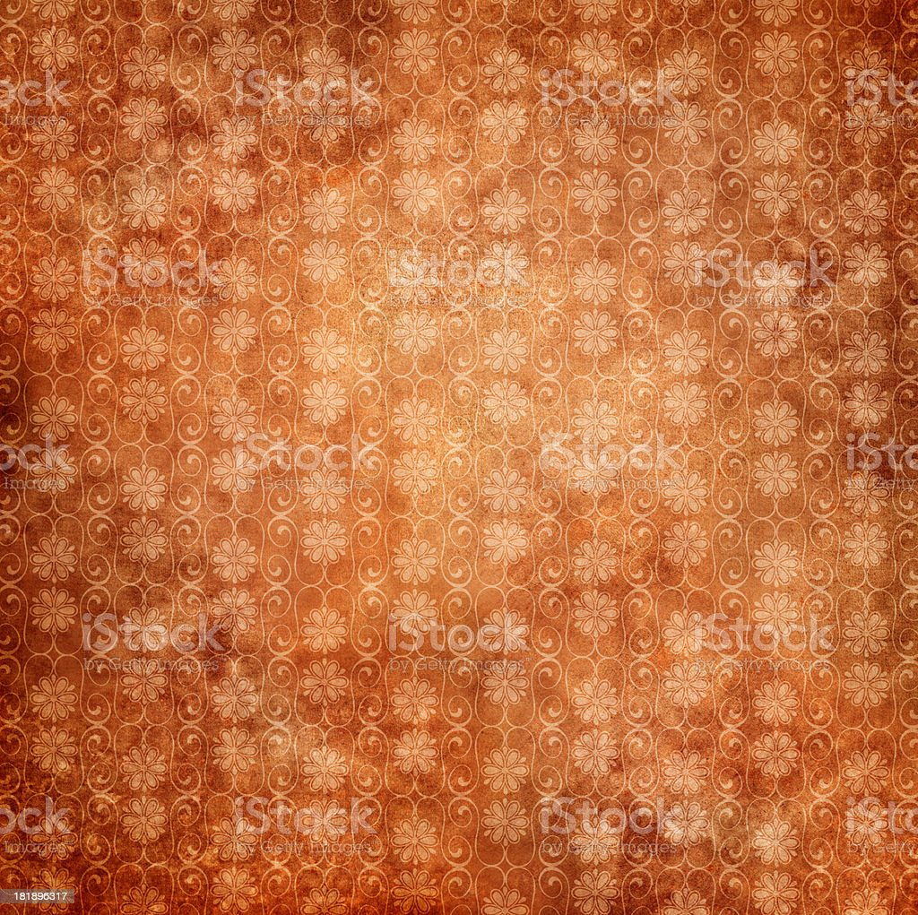 Red Antique Wallpaper With Flowers royalty-free stock photo