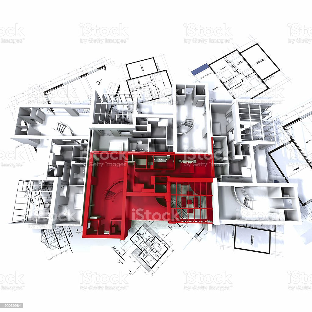 Red apartment mockup on blueprints royalty-free stock photo
