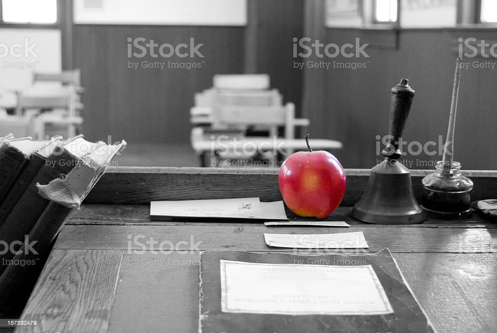 Red Aplle on Teacher's Desk royalty-free stock photo