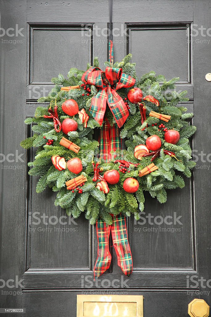 Red apple and chillies modern Christmas wreath royalty-free stock photo