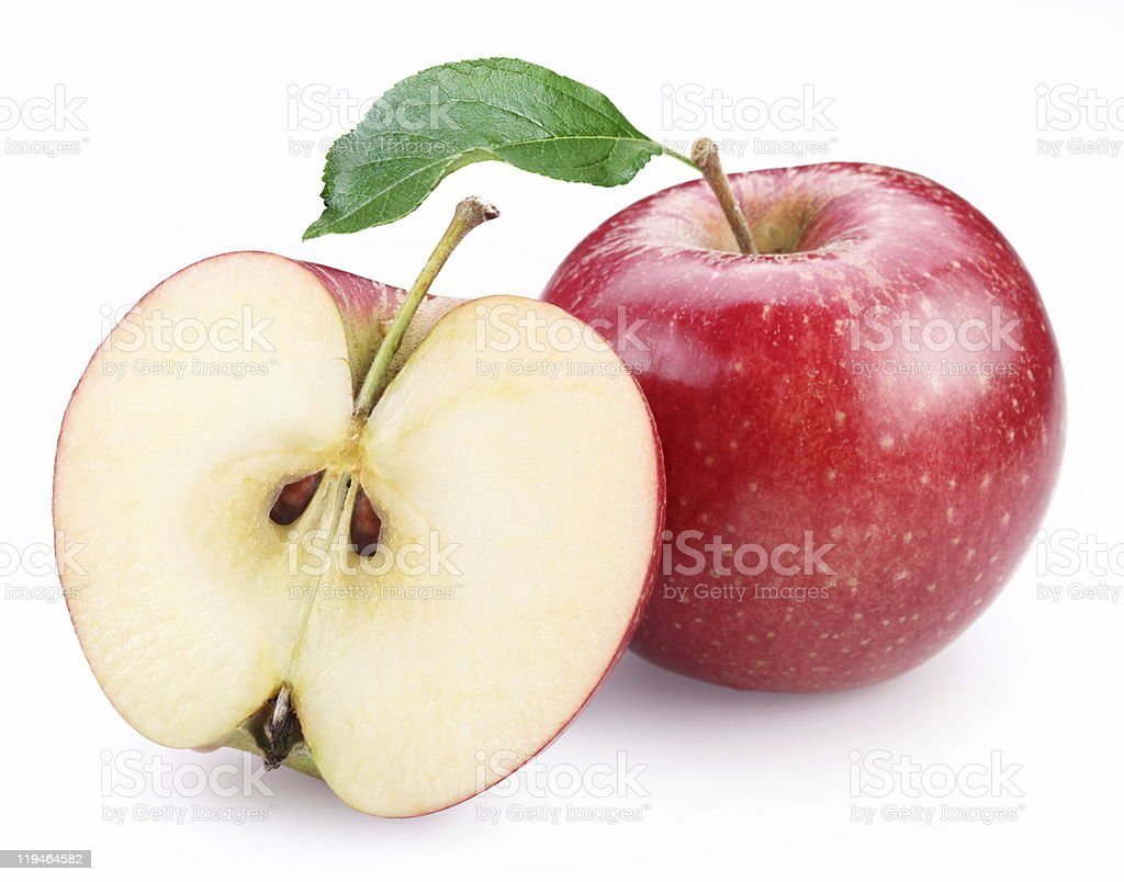 Red apple and its half. stock photo