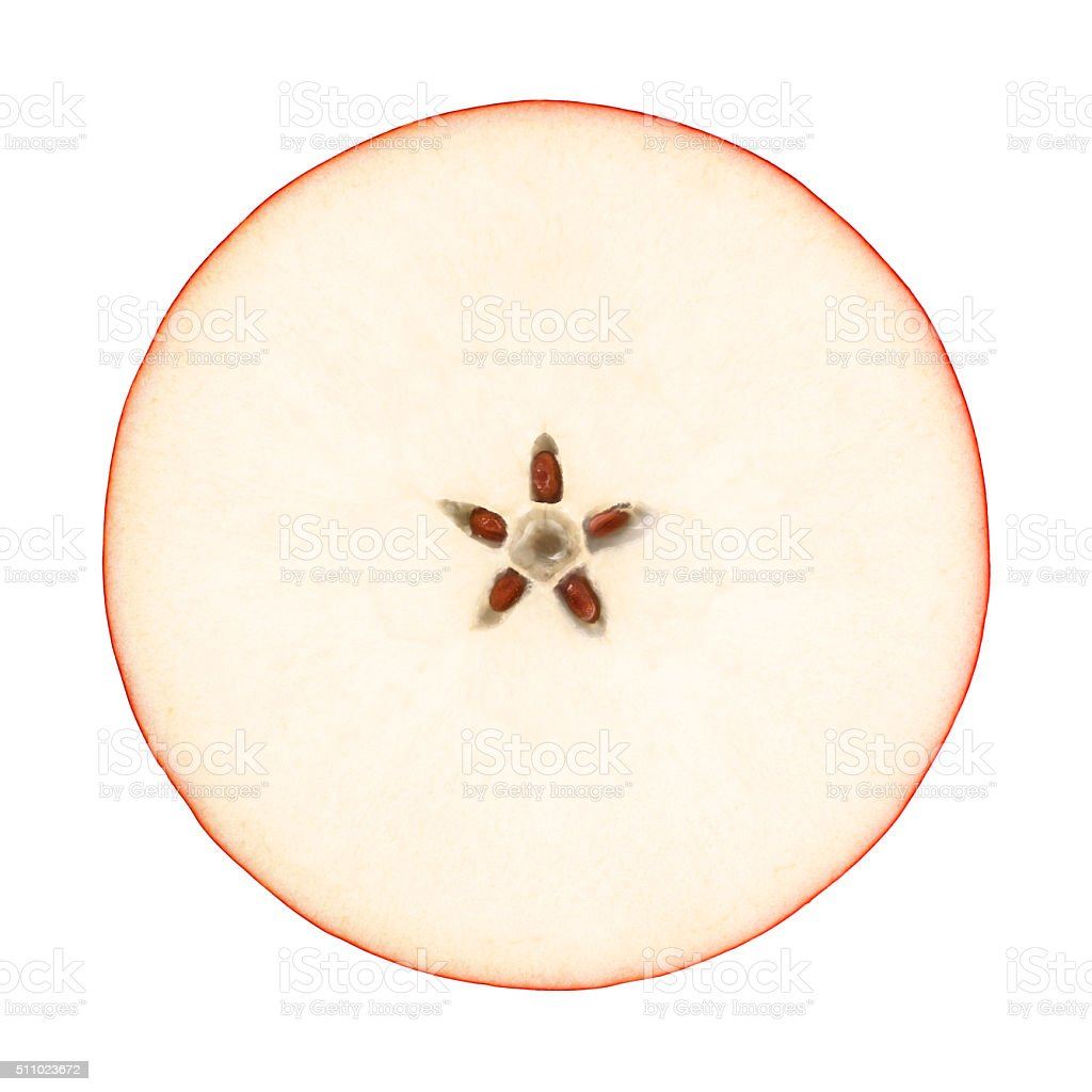 Red Apple Circle Portion from Directly Above with Clipping Path stock photo