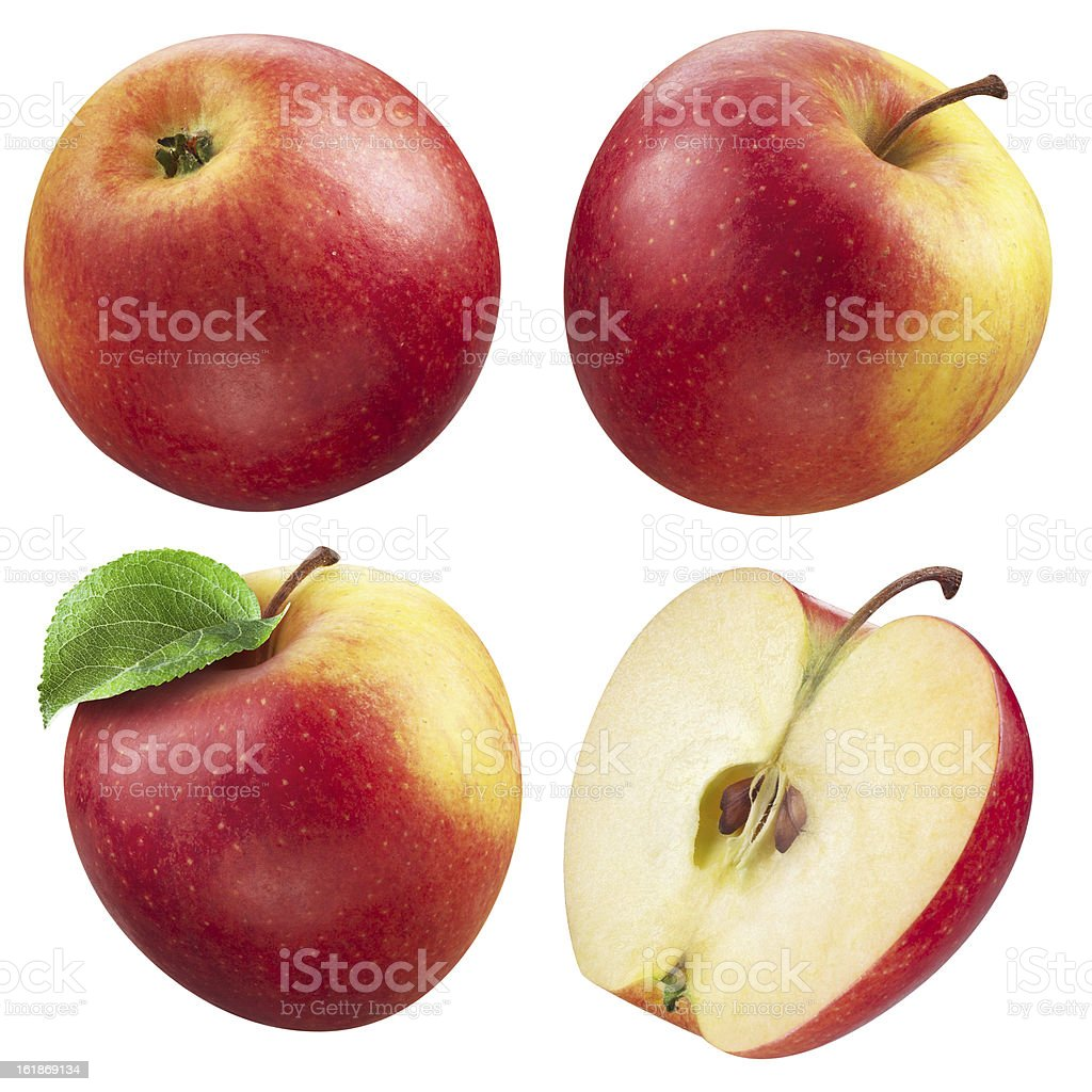 Red apple collection. set of fruit isolated on white stock photo