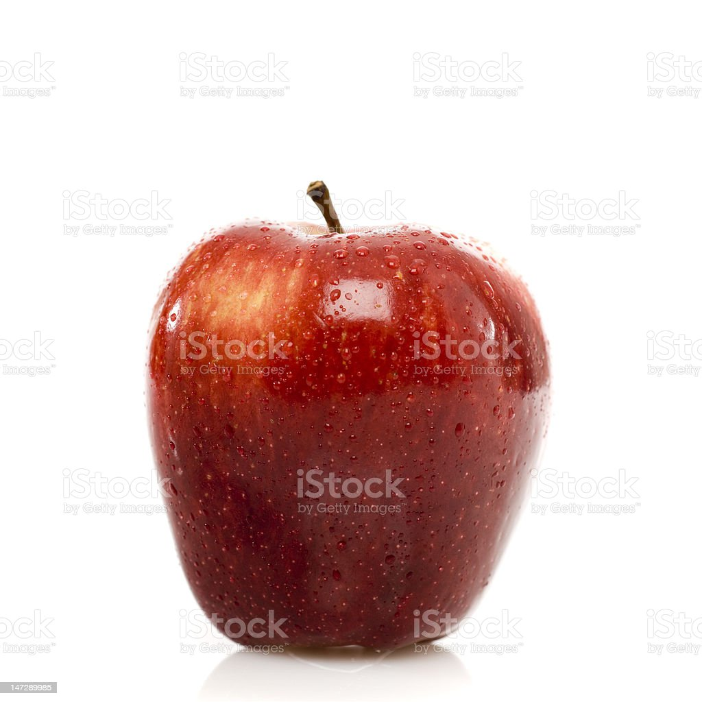 Red apple dew drops Isolated On White royalty-free stock photo