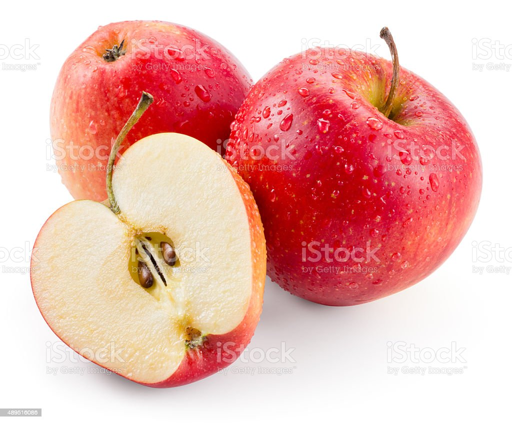 Red apple. Fruit with drops isolated. With clipping path stock photo
