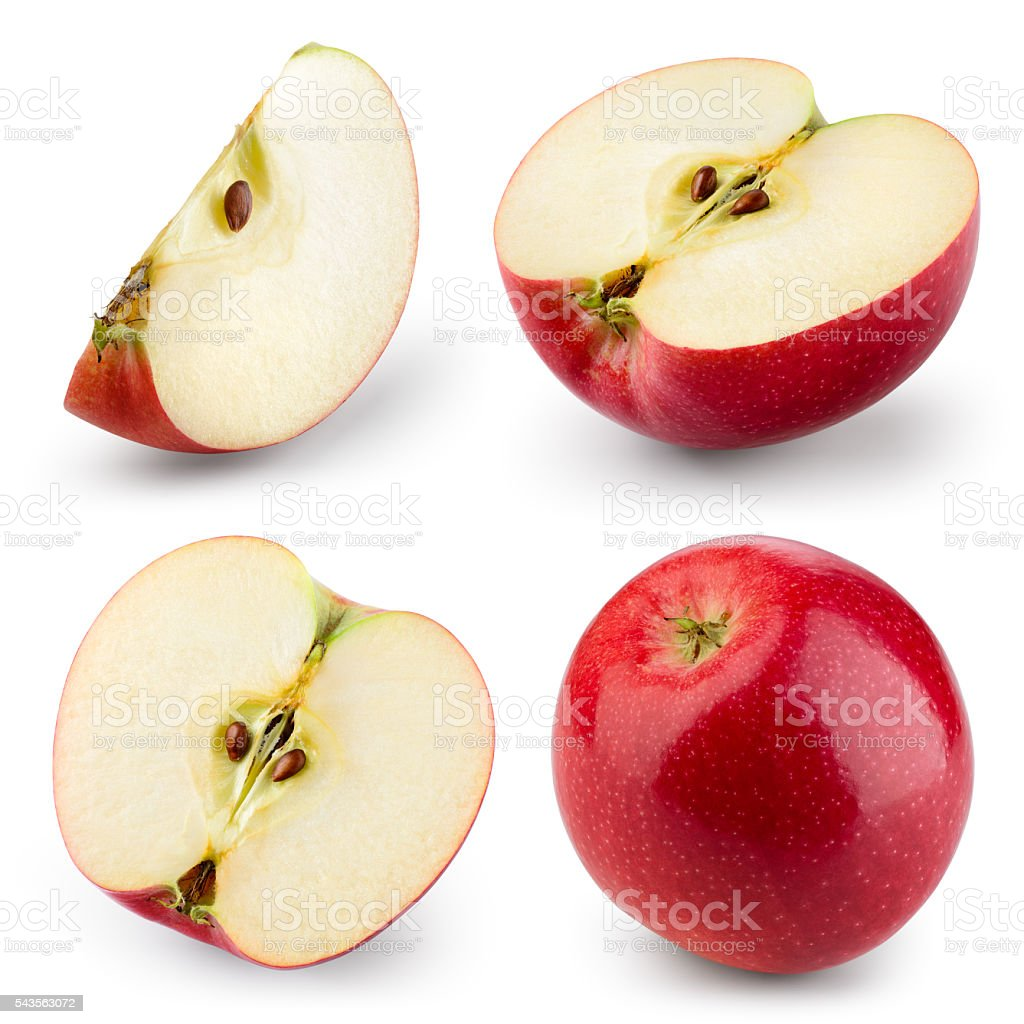 Red apple isolated on white. Collection. With clipping path stock photo