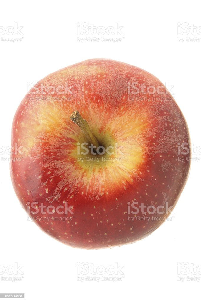 Red apple isolated on white from high angle view stock photo