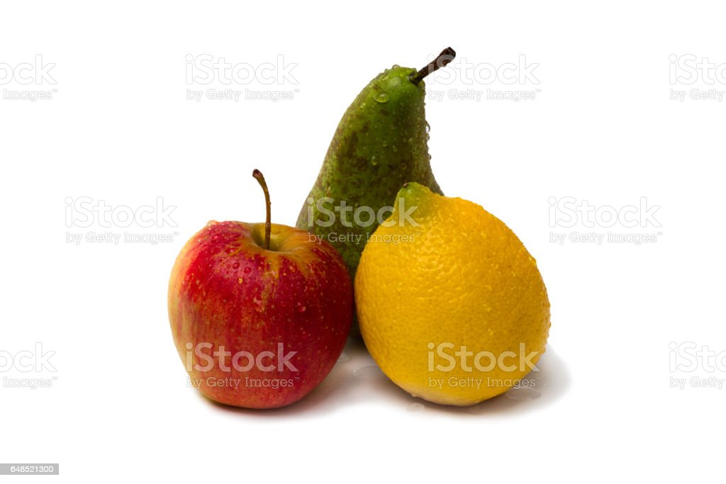 Red apple, lemon and pear stock photo