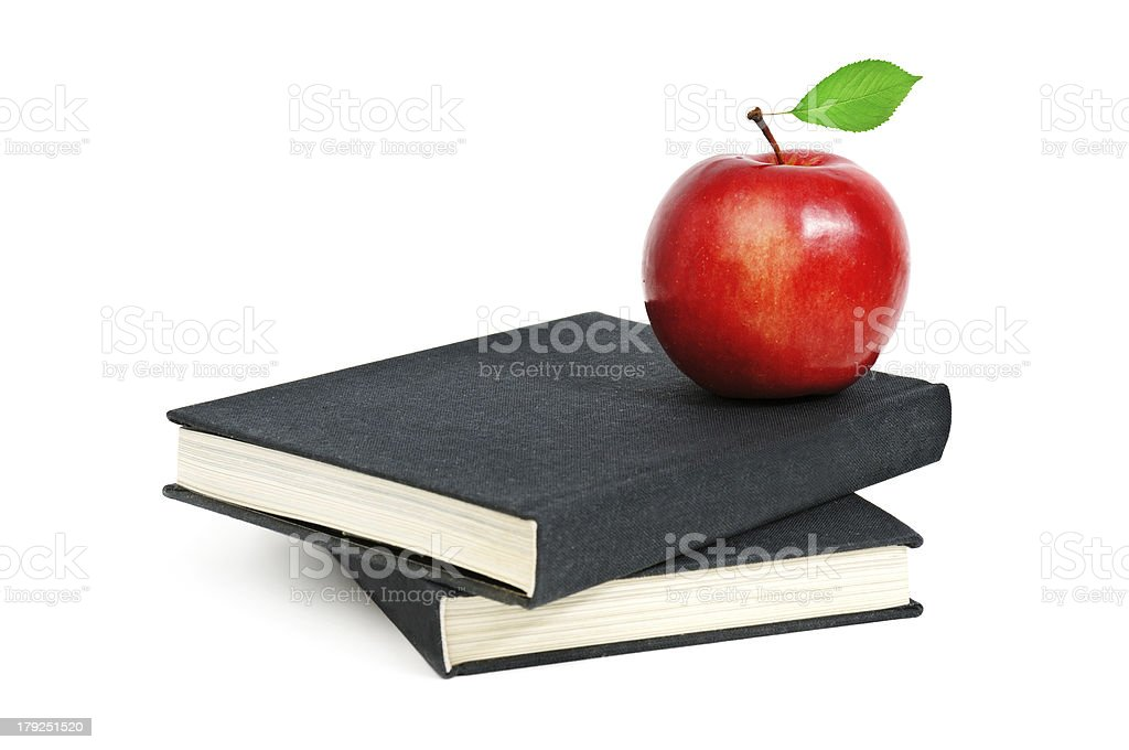 red apple on a book royalty-free stock photo