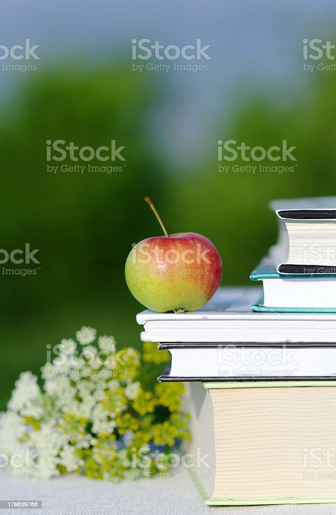 Red apple on book stock photo