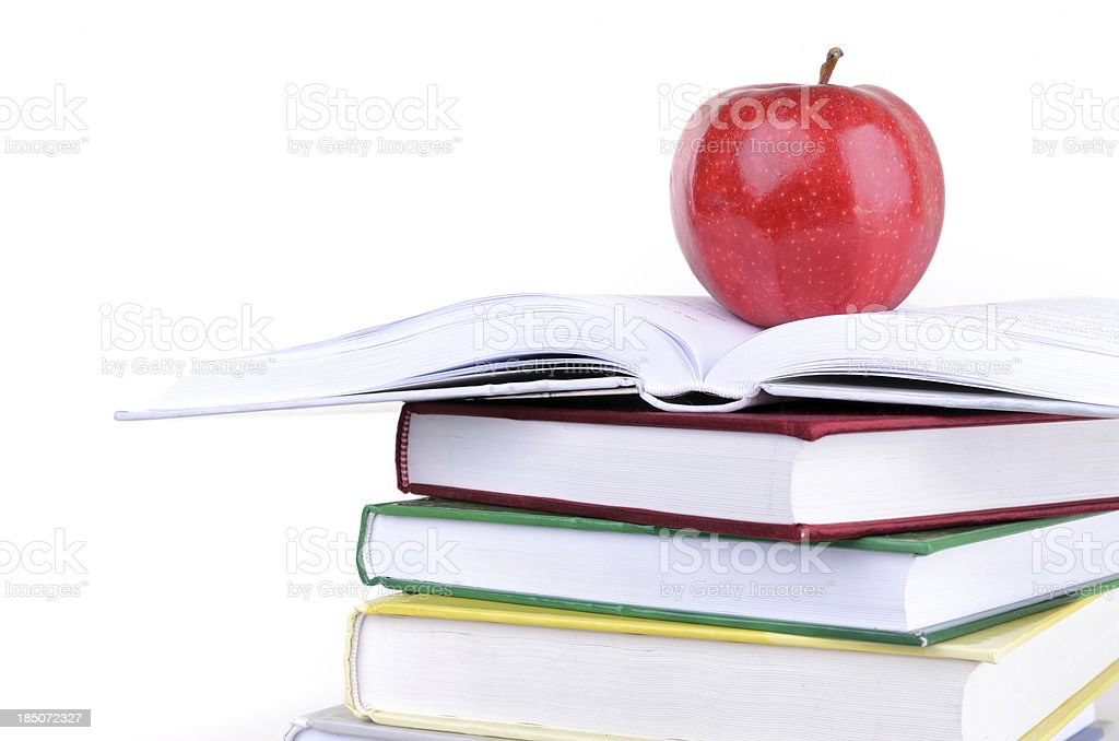 Red apple on bookes royalty-free stock photo