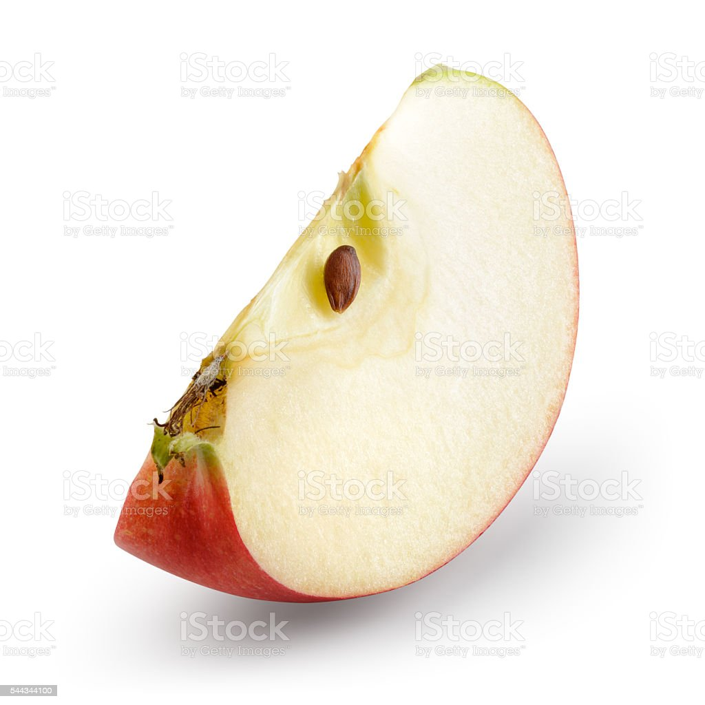 Red apple. Piece isolated on white. With clipping path. stock photo