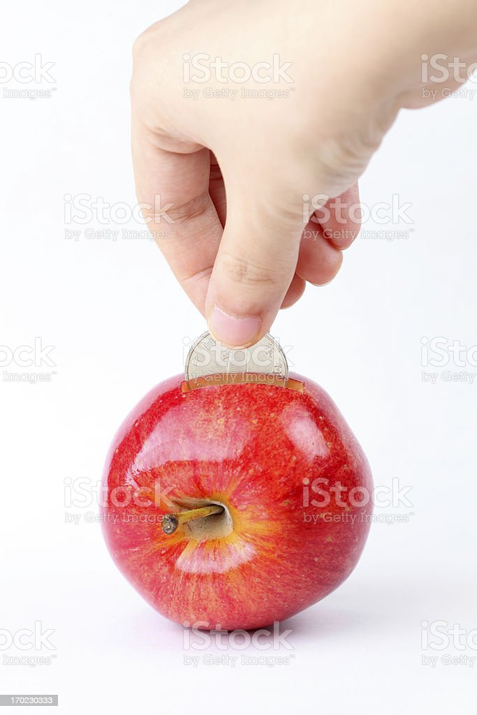 red apple piggy bank royalty-free stock photo