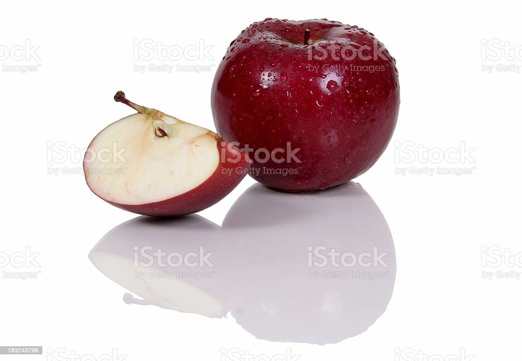 Red apple portion. stock photo