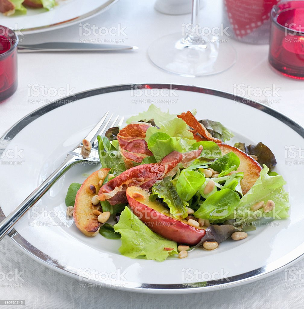 red apple salad with roasted cured ham royalty-free stock photo