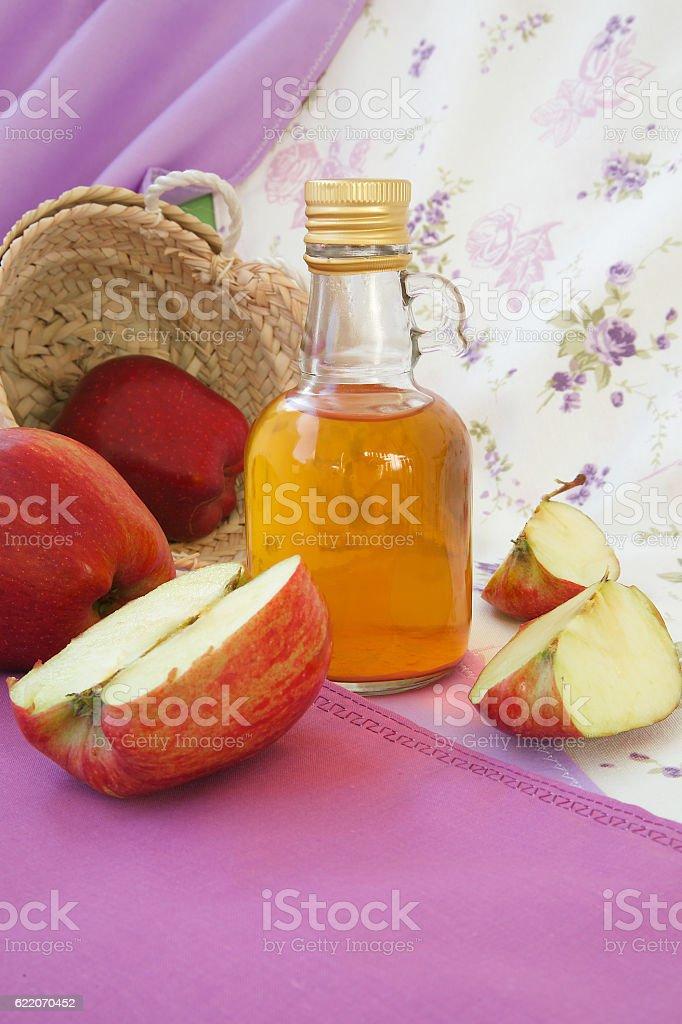 Red apple vinegar stock photo