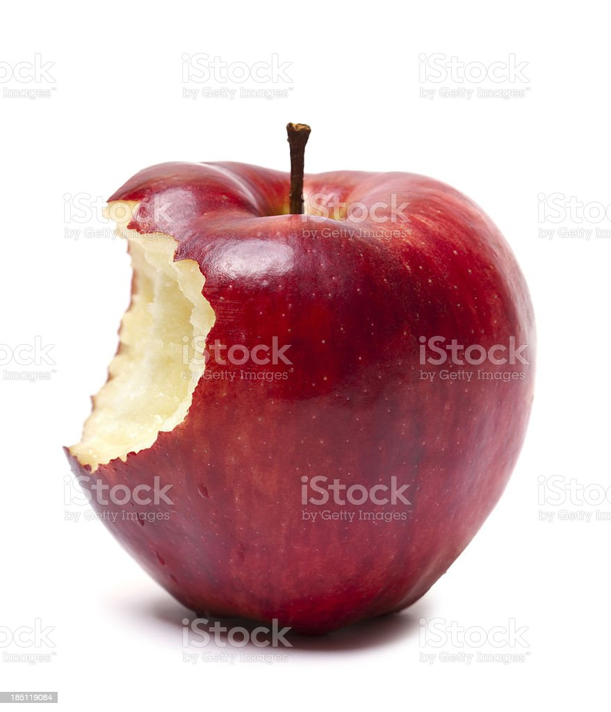 Red apple with bite stock photo