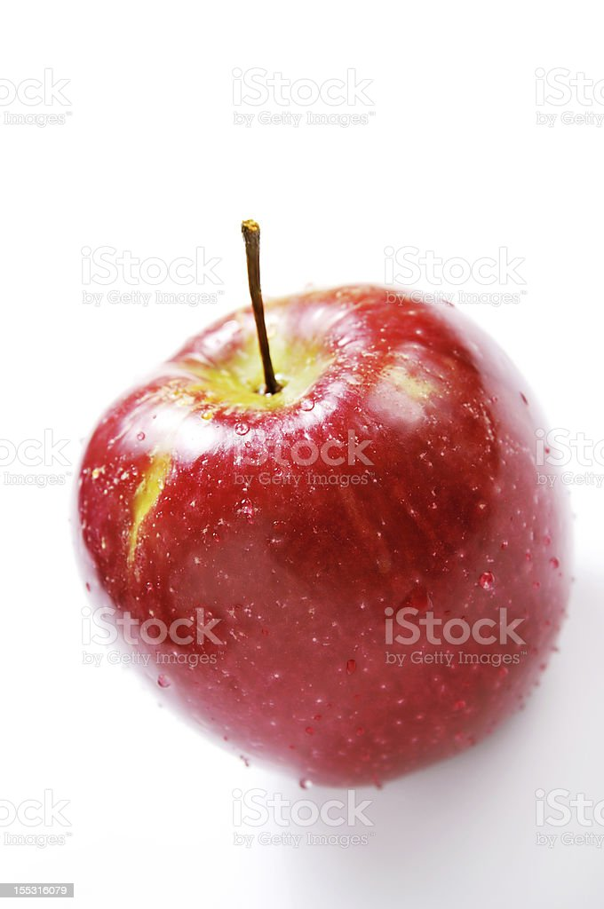 red apple with drop of water royalty-free stock photo