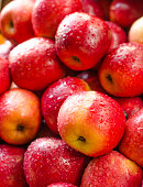 red apple with drop
