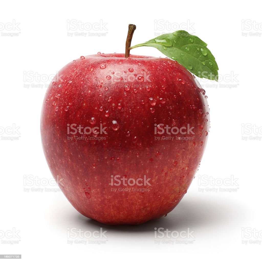 Red Apple with Droplet stock photo