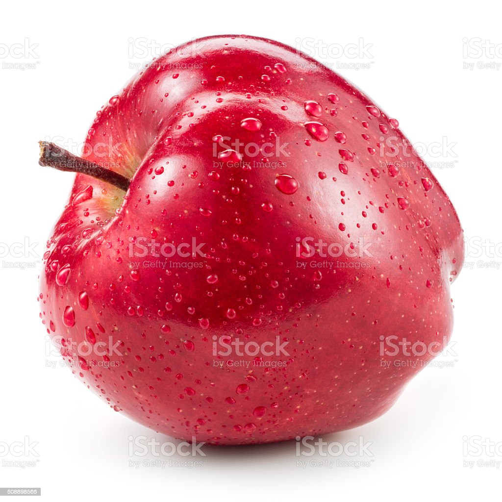 Red apple with drops isolated on white. stock photo