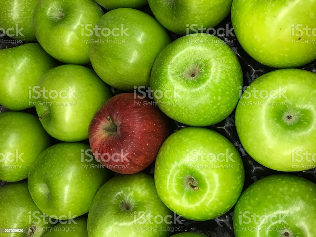 Red apple with geren apples stock photo