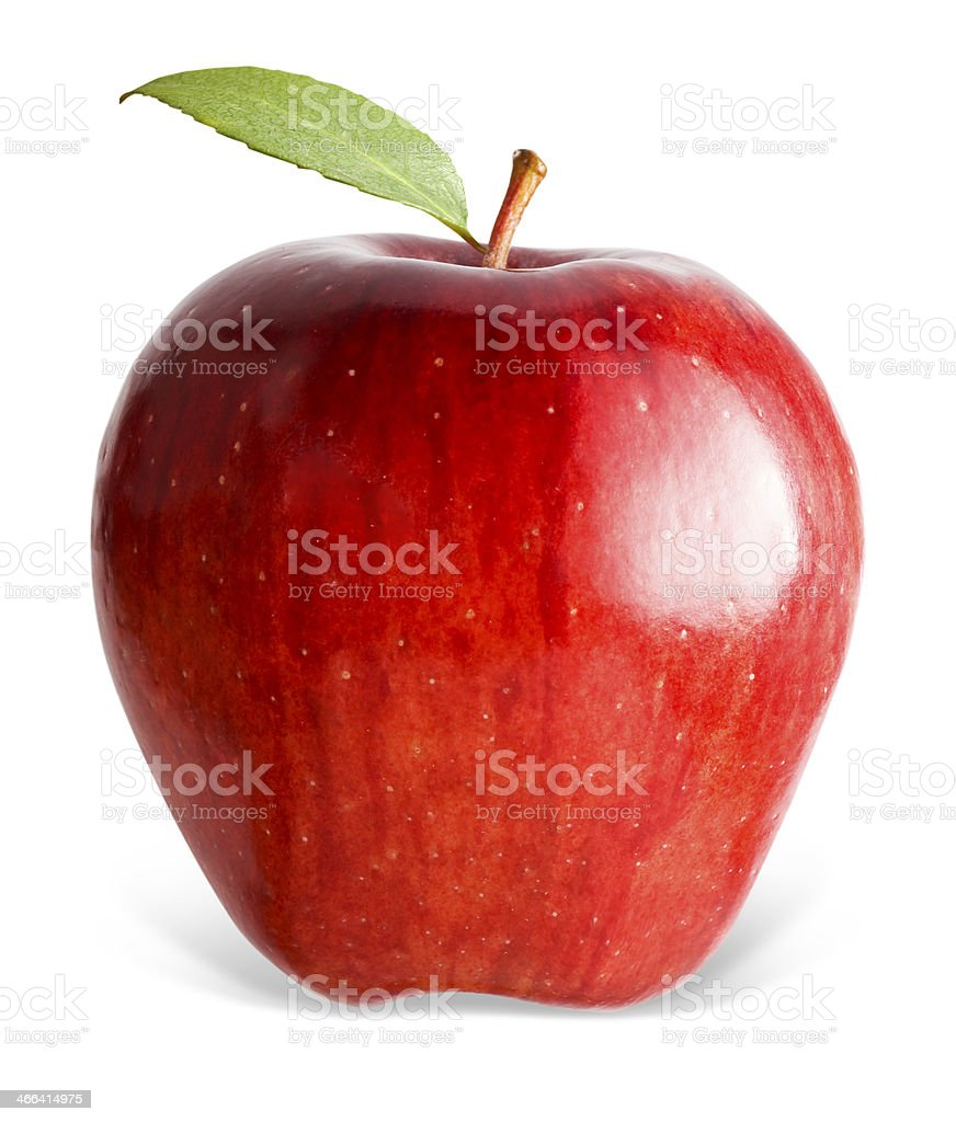 Red apple with green leaf on a white background  stock photo