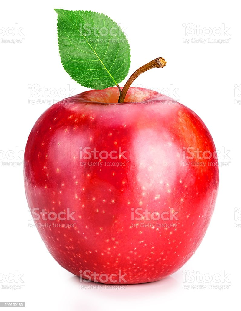Red Apple with green leaf stock photo