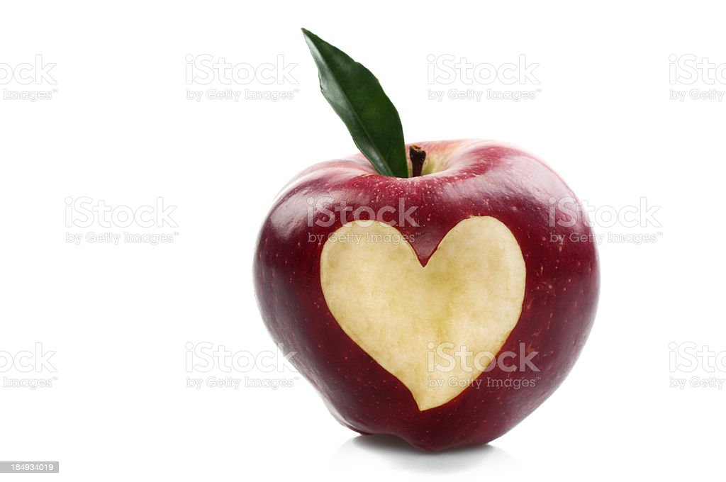 Red Apple With Heart Shape royalty-free stock photo