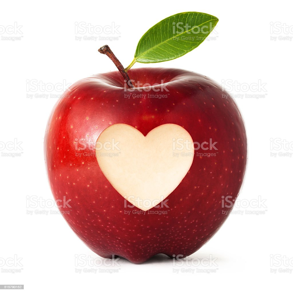 Red apple with heart symbol isolated on white background stock photo