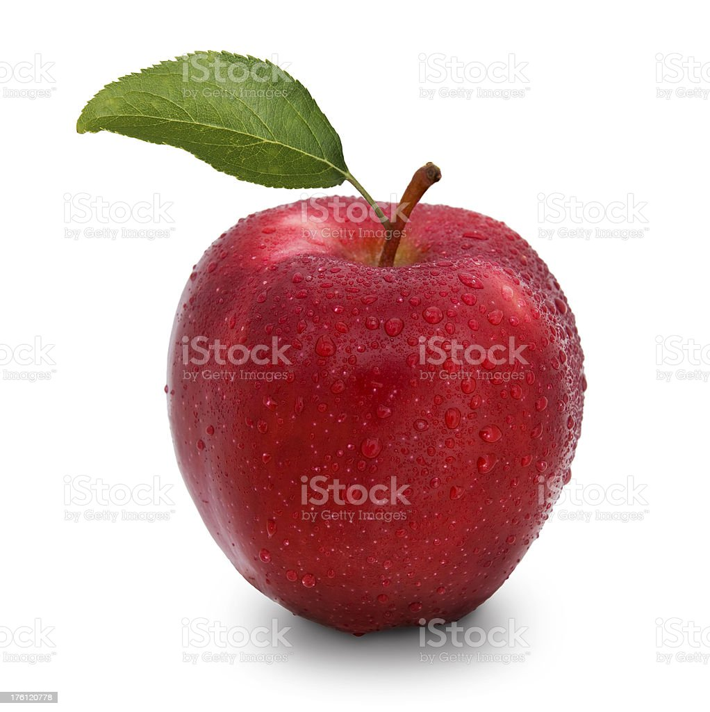 red apple with leaf royalty-free stock photo