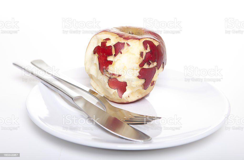 Red apple with map of the world stock photo