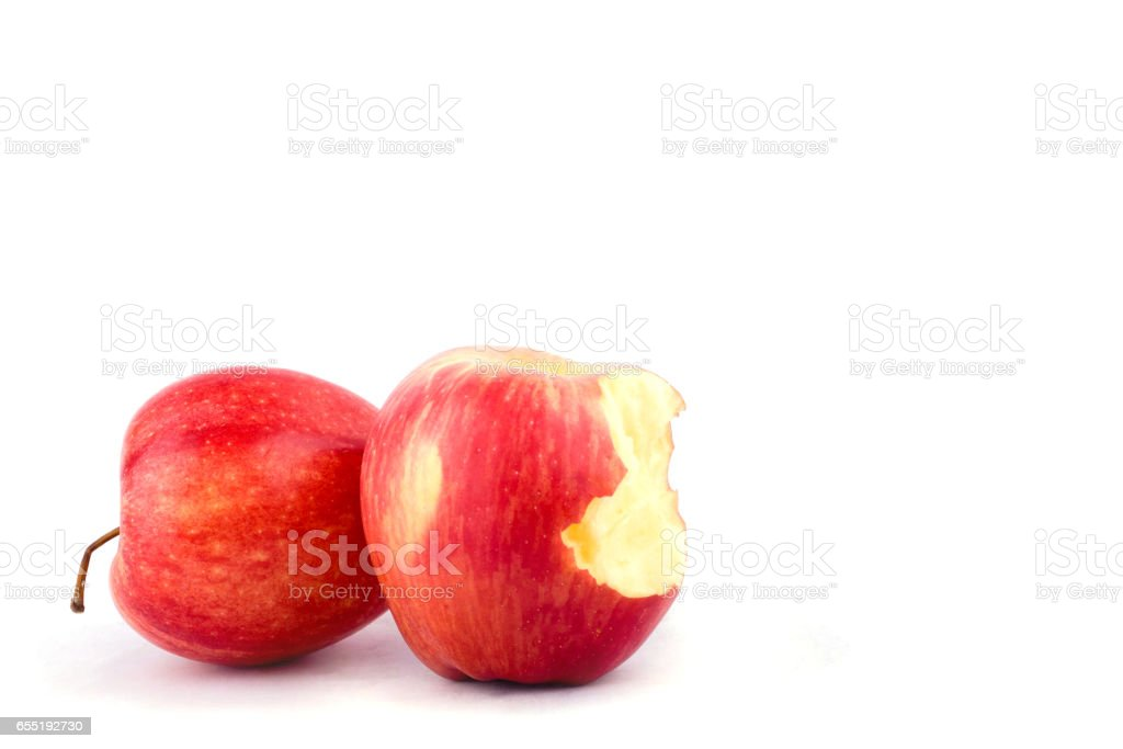 red apple with missing a bite on white background healthy apple fruit food isolated stock photo