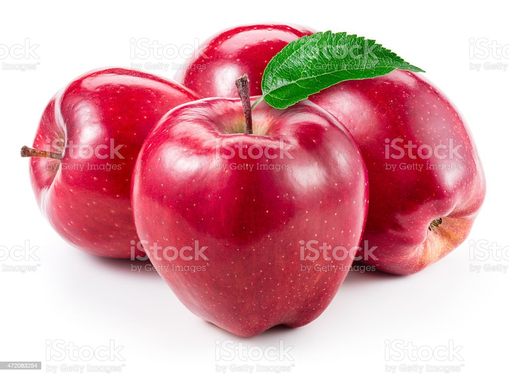 Red apples. Fruit with leaf isolated on white. stock photo