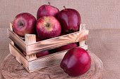 Red Apples in a Wooden Crate