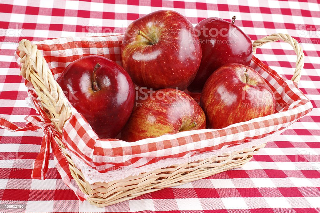 Red apples in basket royalty-free stock photo