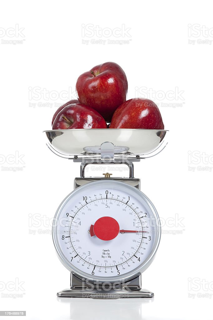 Red apples with scale on white royalty-free stock photo