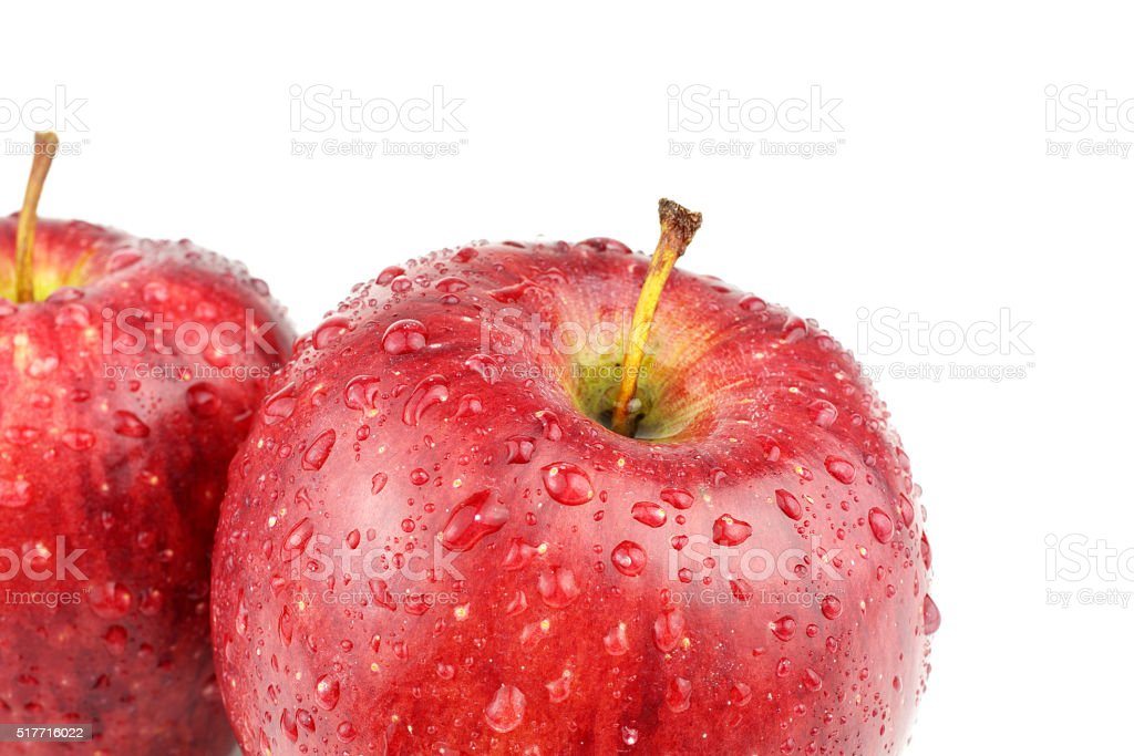 Red apples with water droplets stock photo