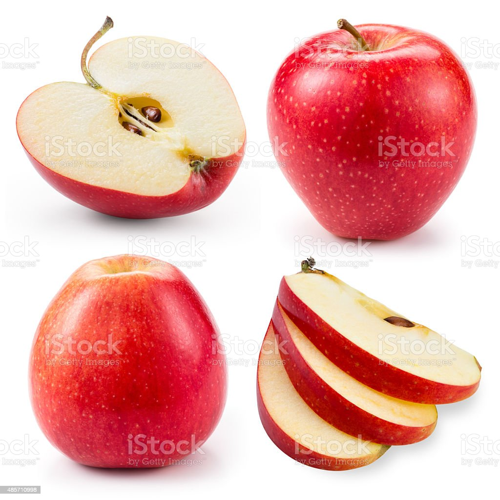 Red apple.Whole, half and slice isolated on white. Collection. stock photo