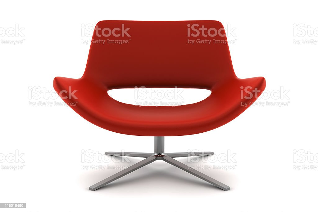 red armchair isolated on white background with clipping path stock photo