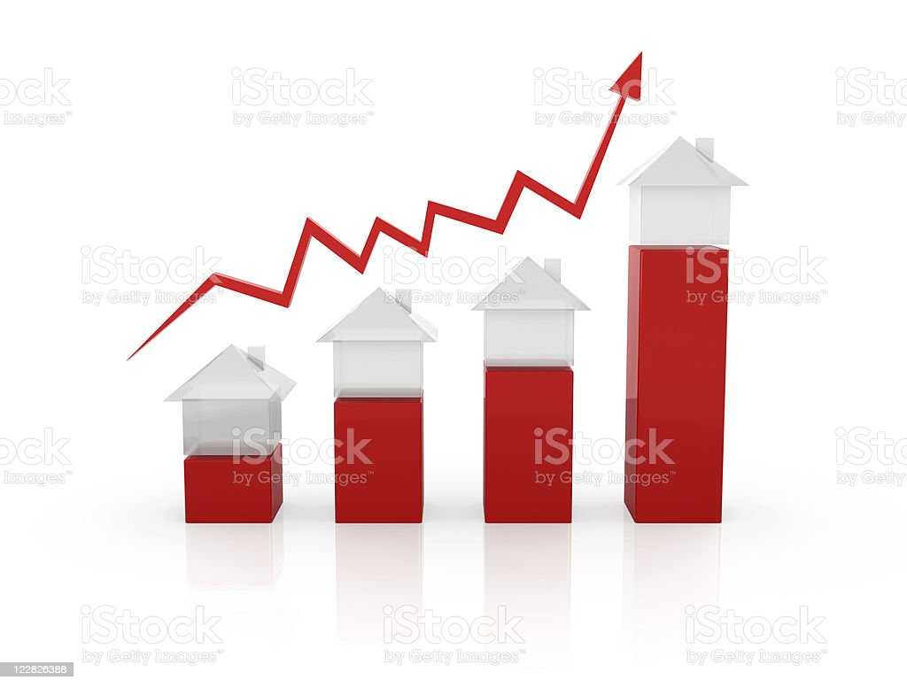 Red arrow along different sized home models royalty-free stock photo