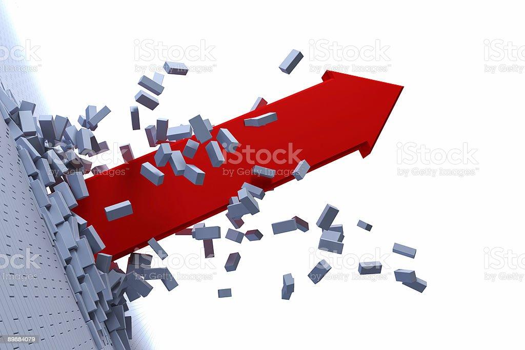 Red arrow bursting through gray bricks on white background  stock photo