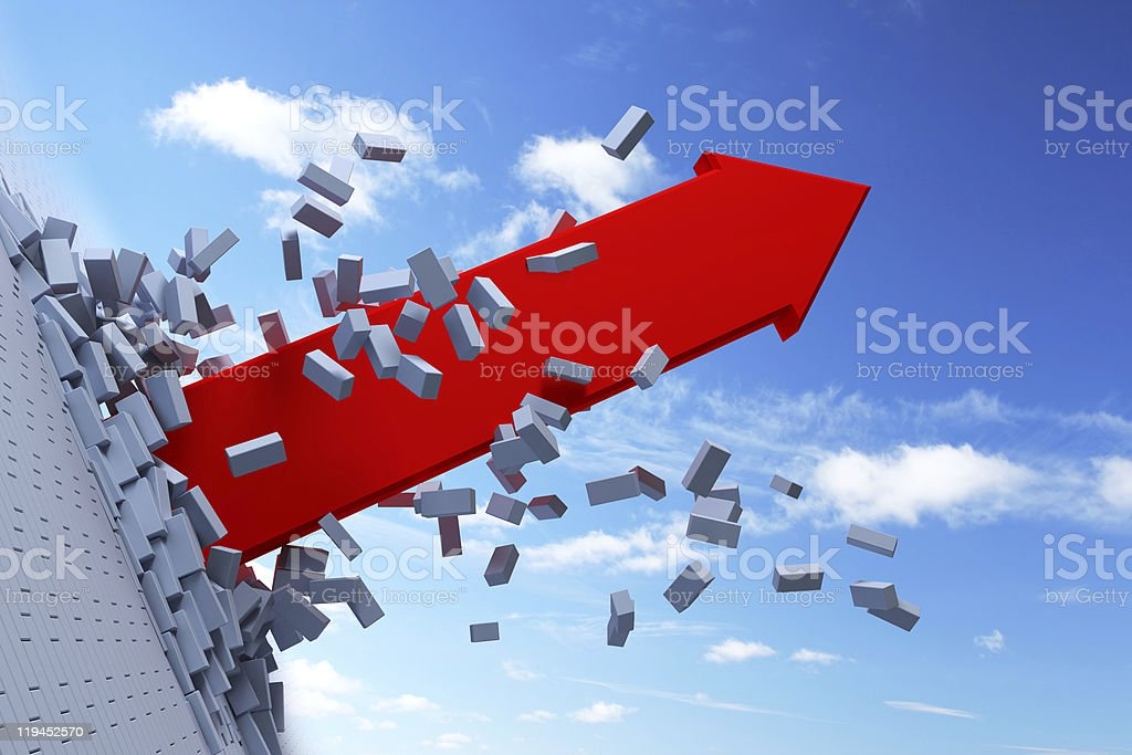 Red arrow bursting through wall royalty-free stock photo