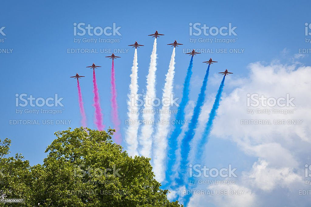 Red Arrow display at Trooping of the Colour stock photo