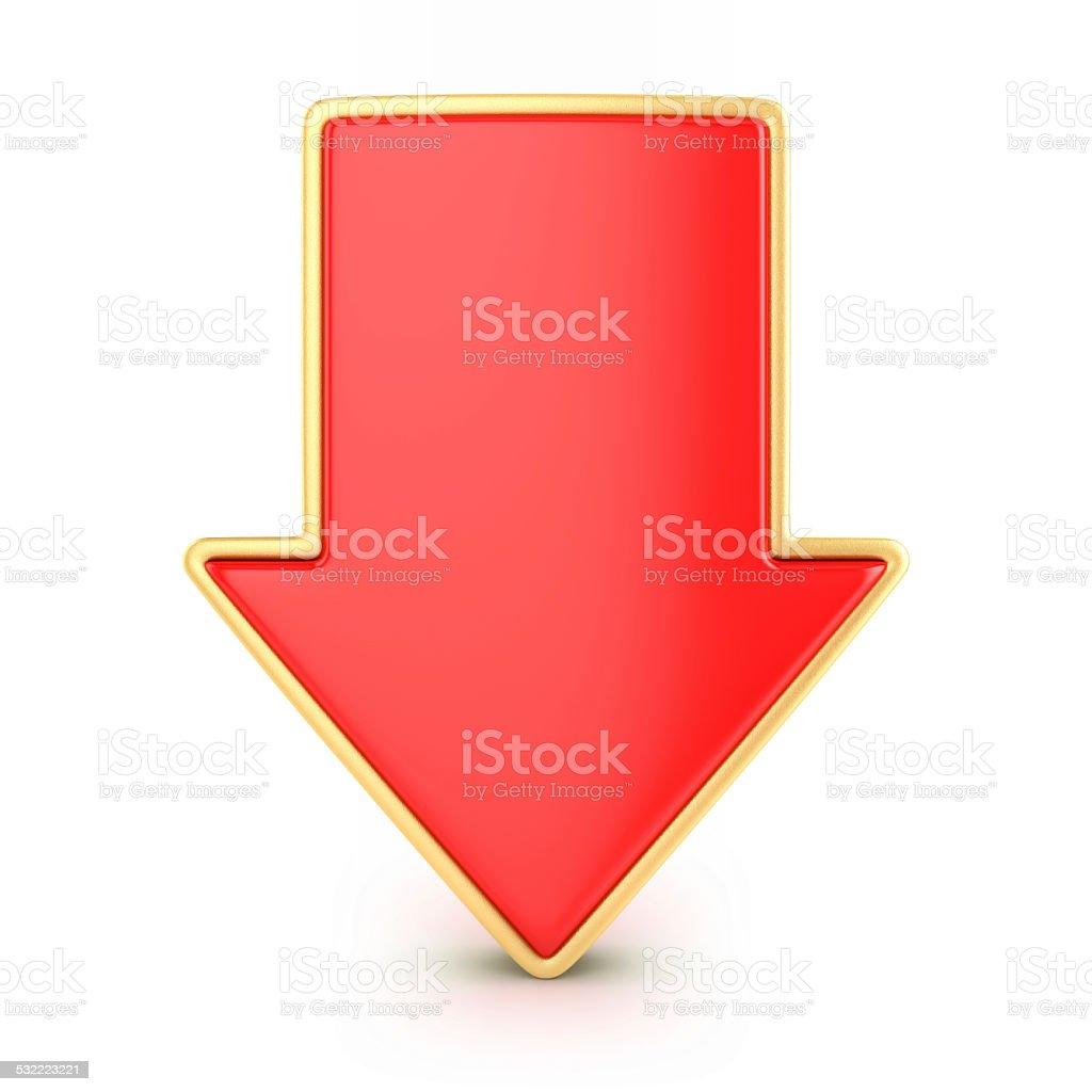 Red arrow down stock photo
