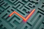Red arrow going through maze