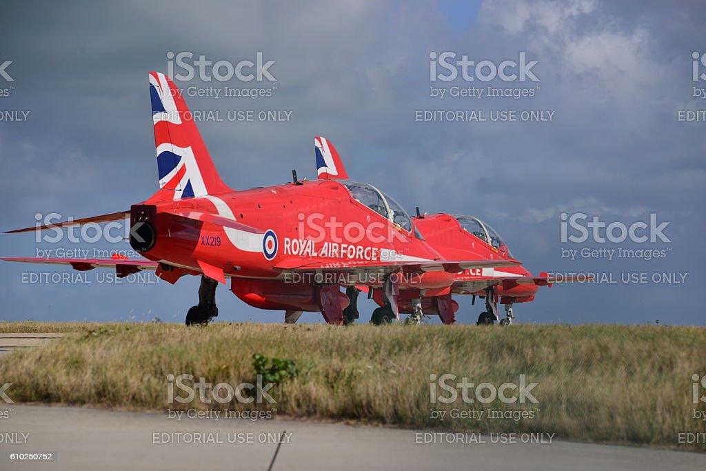 RAF Red Arrow Hawk T1 fighter, U.K. stock photo
