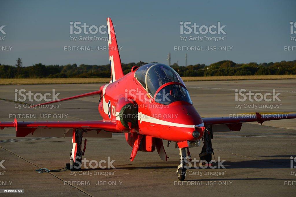 RAF Red Arrow Hawk T1, Jersey, U.K. stock photo
