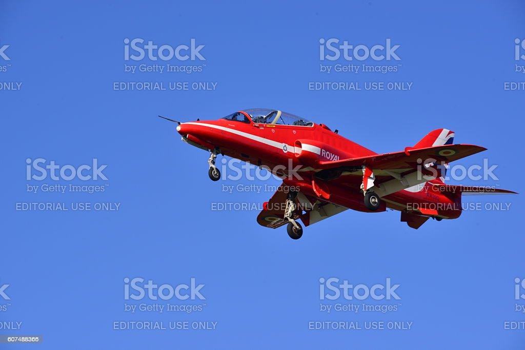 RAF Red Arrow Hawk T1, U.K. stock photo
